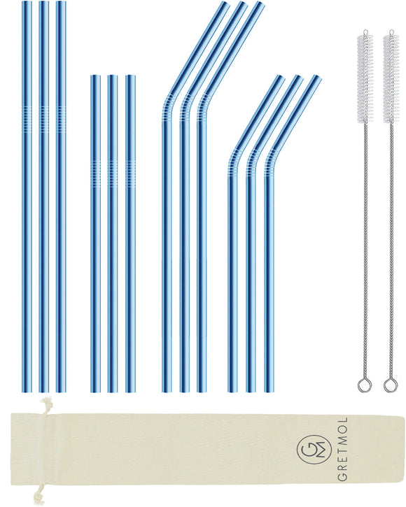 Reusable Stainless Steel Straight Cocktail Straws Short- 12 Pack Blue