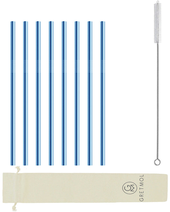 Reusable Stainless Steel Straws Straight with Brush - 8 Pack Blue