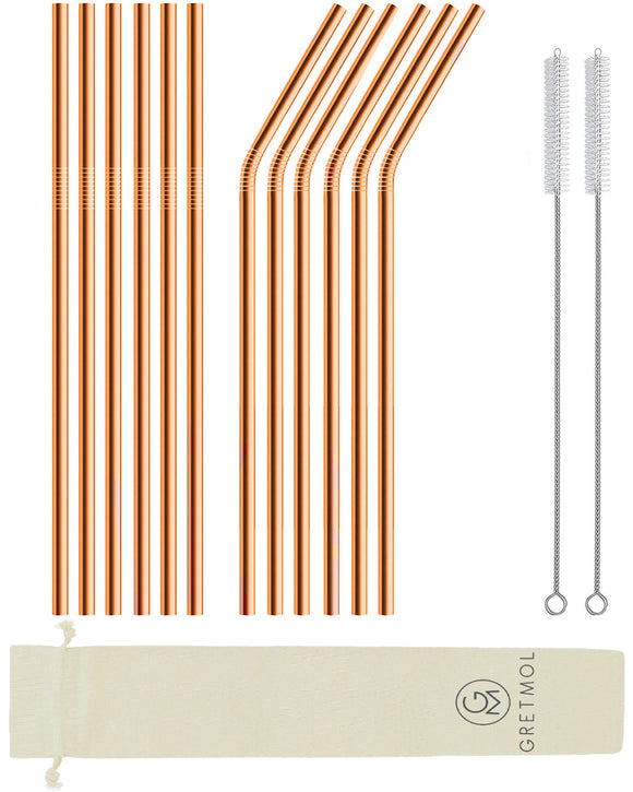 Reusable Stainless Steel Long Straws- 12 Pack Copper