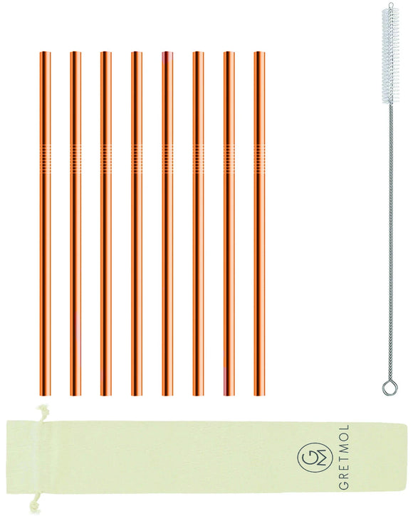 Reusable Stainless Steel Straws Straight with Brush - 8 Pack Copper