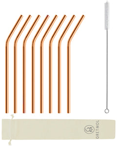 Reusable Stainless Steel Straws Bent with Brush - 8 Pack Copper