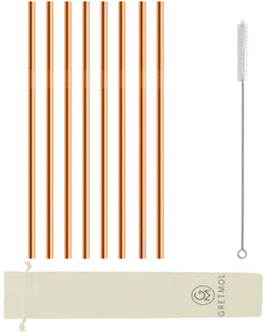 Reusable Stainless Steel Cocktail Straws - 8 Pack Copper