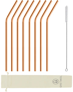 Reusable Stainless Steel Cocktail Straws Bent - 8 Pack Copper