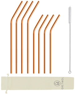 Reusable Stainless Steel Bent Straws - 8 Pack Copper