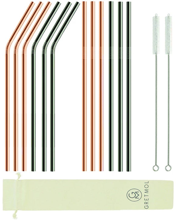 Reusable Stainless Steel Long Straws - 12 Pack Copper & Black