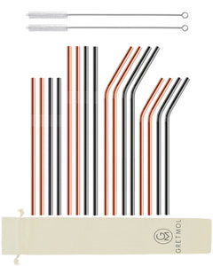 Reusable Stainless Steel Straws Combo - 16 Pack Copper & Black