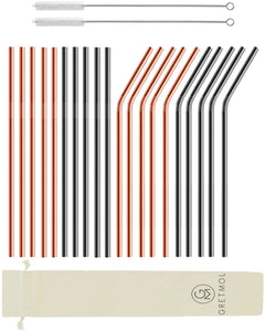 Reusable Stainless Steel Straws Long Mix - 20 Pack Copper & Black