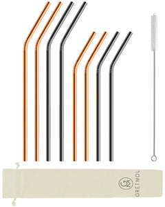 Reusable Stainless Steel Bent Straws - 8 Pack Copper & Black