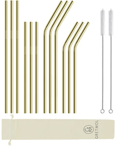 Reusable Stainless Steel Straws- 12 Pack Combo Gold