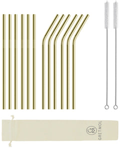 Reusable Stainless Steel Straws with Brush - 12 Pack Gold