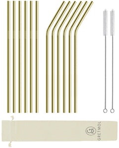 Reusable Stainless Steel Long Straws-12 Pack Gold