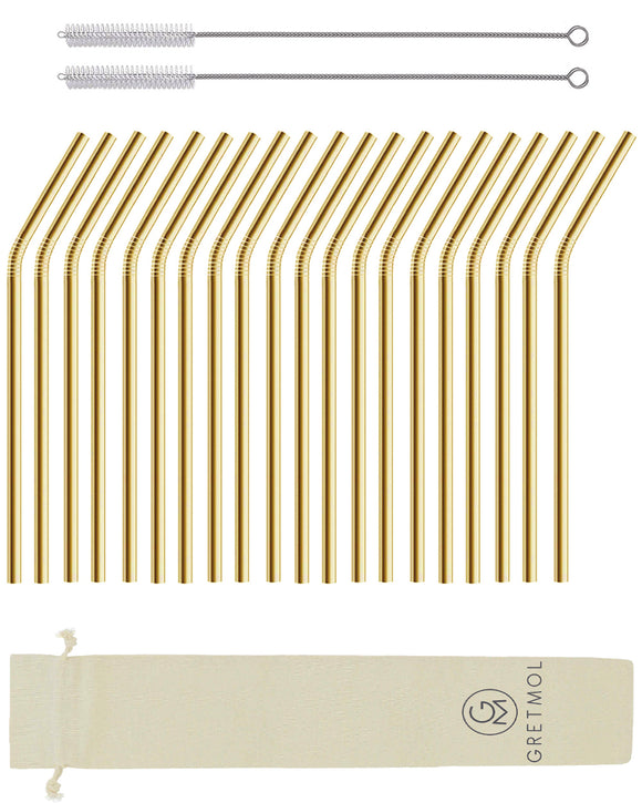 Reusable Stainless Steel Drinking Straws Bent with Brush - 20 Pack Gold