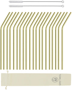 Reusable Stainless Steel Cocktail Straws Bent with Brush - 20 Pack Gold