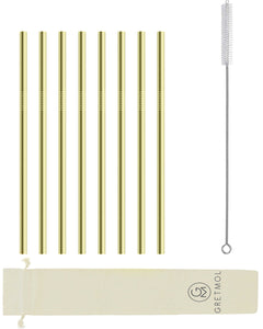 Reusable Stainless Steel Straws Straight with Brush - 8 Pack Gold