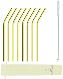 Reusable Stainless Steel Straws Bent with Brush - 8 Pack Gold