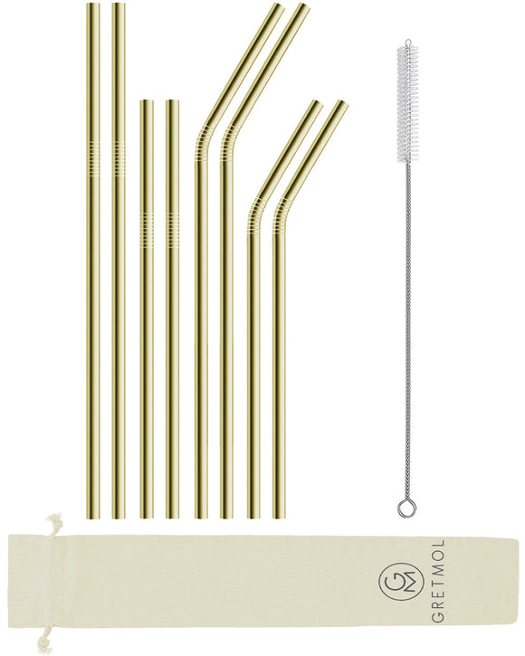 Reusable Stainless Steel Straws- 8 Pack Combo Gold