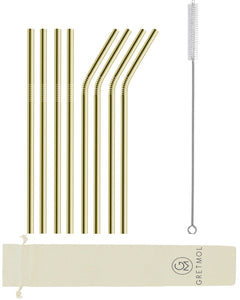 Reusable Stainless Steel Straws with Brush - 8 Pack Gold