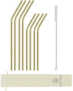 Reusable Stainless Steel Bent Straws - 8 Pack Gold