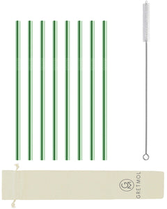 Reusable Stainless Steel Straws Straight with Brush - 8 Pack Mint