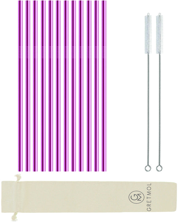Reusable Stainless Steel Straight Cocktail Straws Short- 12 Pack Pink