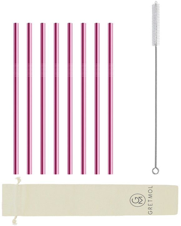 Reusable Stainless Steel Straws Straight with Brush - 8 Pack Pink