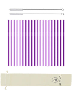 Reusable Stainless Steel Straight Cocktail Straws Short - 20 Pack