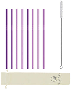 Reusable Stainless Steel Straws Straight with Brush - 8 Pack Purple