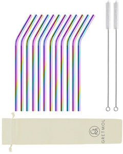 Reusable Stainless Steel Drinking Straws Curved Short - 12 Pack Rainbow