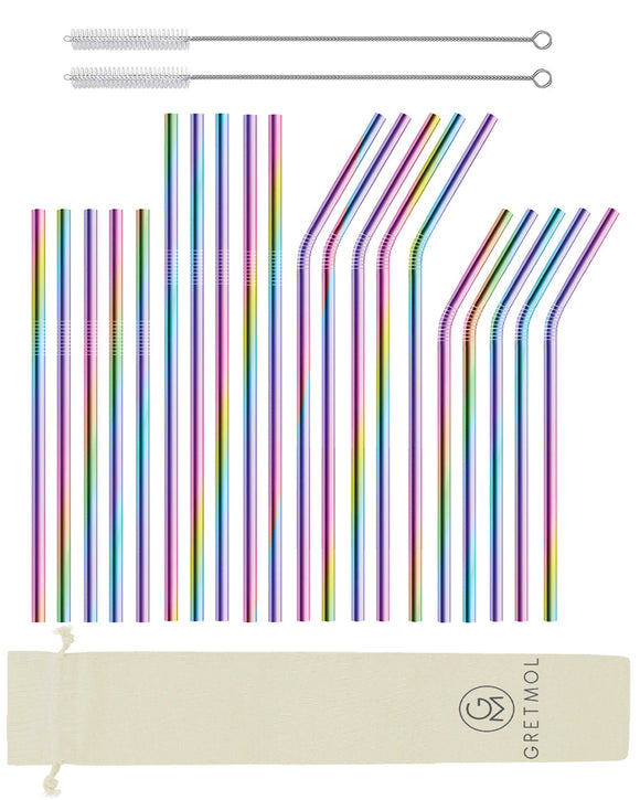 Reusable Stainless Steel Cocktail Straws Combo - 20 Pack Rainbow