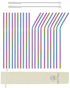 Reusable Stainless Steel Cocktail Straws Straight & Bent Long- 20 Pack Rainbow