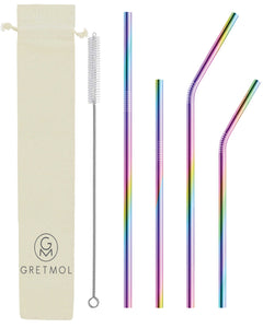 Reusable Stainless Steel Straws Combo Set with Brush - 4 Pack Rainbow