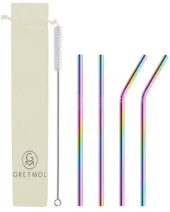 Reusable Stainless Steel Straws Straight & Bent with Brush - 4 Pack Rainbow