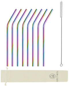 Reusable Stainless Steel Straws Bent with Brush - 8 Pack Rainbow