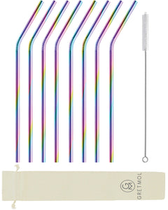 Reusable Stainless Steel Cocktail Straws Bent - 8 Pack Rainbow