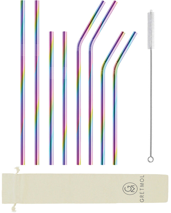 Reusable Stainless Steel Straws- 8 Pack Combo Rainbow