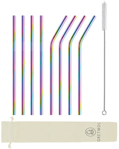 Reusable Stainless Steel Straws with Brush - 8 Pack Rainbow