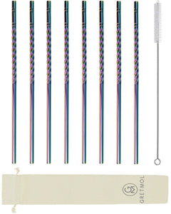 Reusable Stainless Steel Rainbow Twirl Design Straws - 8 Pack