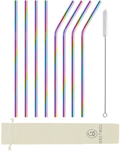 Reusable Stainless Steel Long Straws - 8 Pack Rainbow