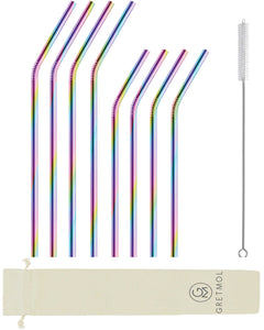 Reusable Stainless Steel Bent Straws - 8 Pack Rainbow