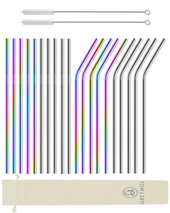 Reusable Stainless Steel Straws Long- 20 Pack Rainbow & Silver