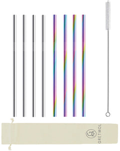 Reusable Stainless Steel Drinking Straws - 8 Pack Rainbow & Silver