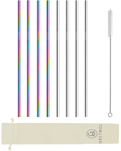 Reusable Stainless Steel Straws Straight - 8 Pack Rainbow & Silver
