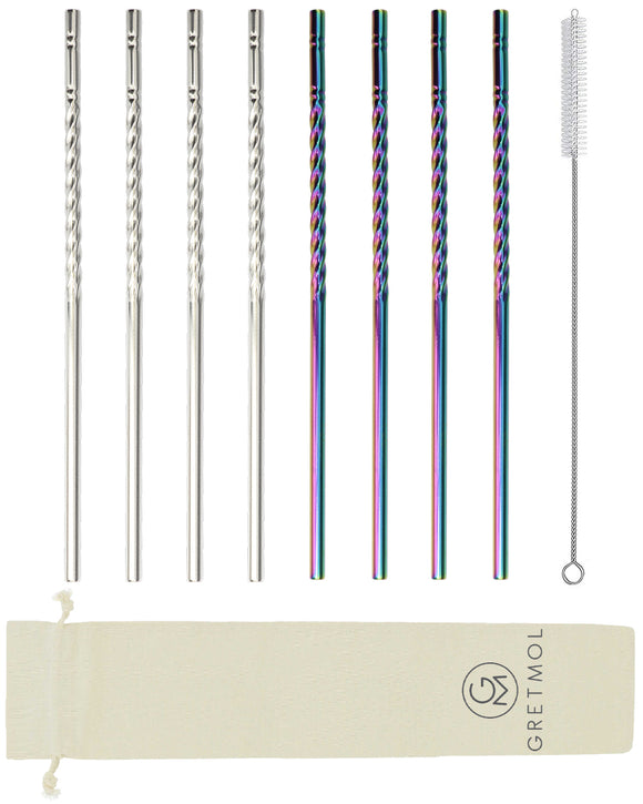Reusable Stainless Steel Rainbow & Silver Twirl Design Straws - 8 Pack