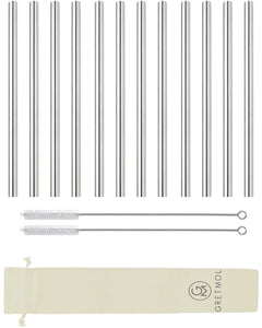 Reusable Stainless Steel Smoothie Straws Straight Long - 12 Pack Silver