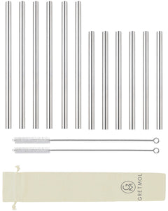 Reusable Stainless Steel Smoothie Straws Straight Mix - 12 Pack Silver