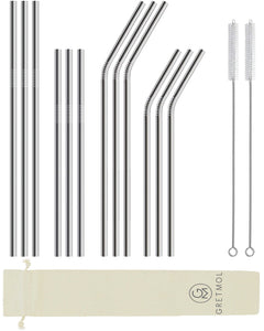 Reusable Stainless Steel Straws - 12 Combo Pack Silver