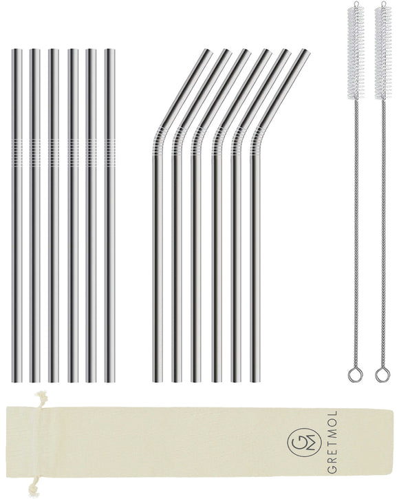 Reusable Stainless Steel Straws with Brush- 12 Pack Silver