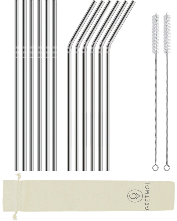 Reusable Stainless Steel Long Straws - 12 Pack Silver
