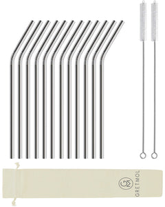 Reusable Stainless Steel Drinking Straws Curved Short - 12 Pack Silver