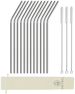 Reusable Stainless Steel Drinking Straws Curved Long - 12 Pack Silver